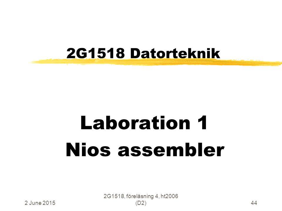 2 June 2015 2G1518, föreläsning 4, ht2006 (D2)44 2G1518 Datorteknik Laboration 1 Nios assembler
