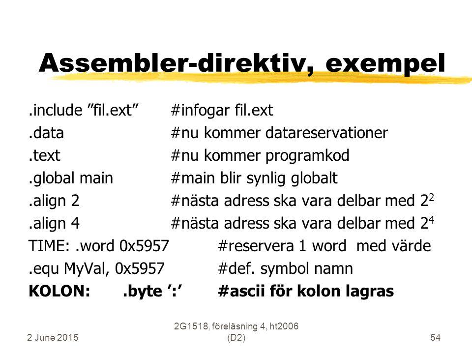 "2 June 2015 2G1518, föreläsning 4, ht2006 (D2)54 Assembler-direktiv, exempel.include ""fil.ext""#infogar fil.ext.data#nu kommer datareservationer.text#n"