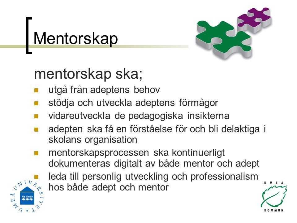Mentorskap mentorskap ska; utgå från adeptens behov stödja och utveckla adeptens förmågor vidareutveckla de pedagogiska insikterna adepten ska få en förståelse för och bli delaktiga i skolans organisation mentorskapsprocessen ska kontinuerligt dokumenteras digitalt av både mentor och adept leda till personlig utveckling och professionalism hos både adept och mentor