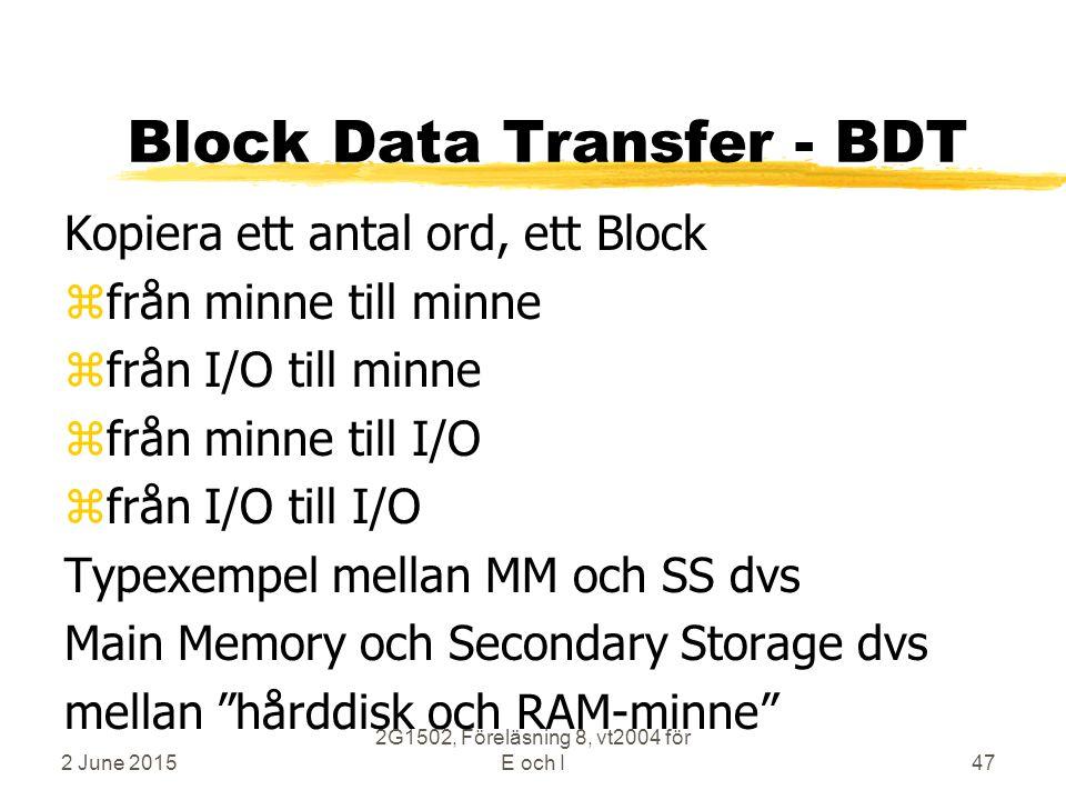 2 June 2015 2G1502, Föreläsning 8, vt2004 för E och I47 Block Data Transfer - BDT Kopiera ett antal ord, ett Block zfrån minne till minne zfrån I/O till minne zfrån minne till I/O zfrån I/O till I/O Typexempel mellan MM och SS dvs Main Memory och Secondary Storage dvs mellan hårddisk och RAM-minne