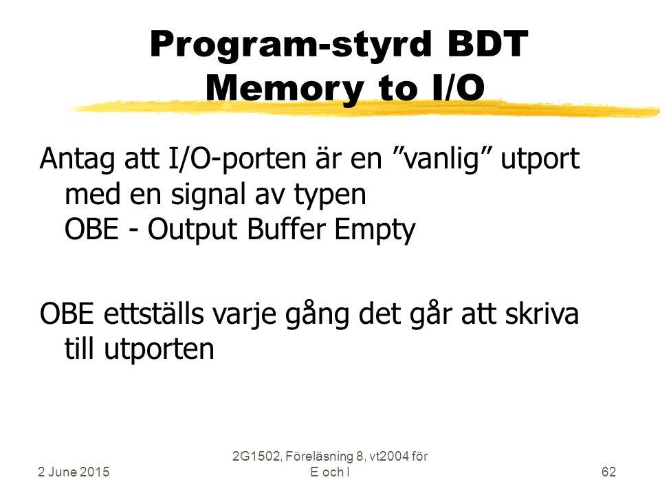 2 June 2015 2G1502, Föreläsning 8, vt2004 för E och I62 Program-styrd BDT Memory to I/O Antag att I/O-porten är en vanlig utport med en signal av typen OBE - Output Buffer Empty OBE ettställs varje gång det går att skriva till utporten