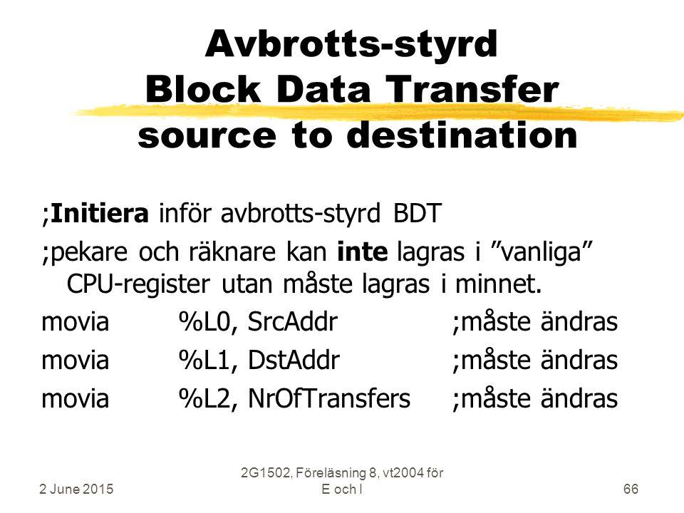 2 June 2015 2G1502, Föreläsning 8, vt2004 för E och I66 Avbrotts-styrd Block Data Transfer source to destination ;Initiera inför avbrotts-styrd BDT ;pekare och räknare kan inte lagras i vanliga CPU-register utan måste lagras i minnet.