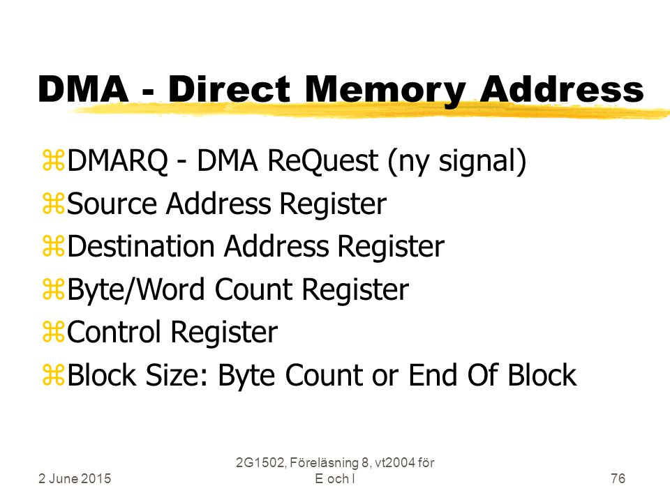 2 June 2015 2G1502, Föreläsning 8, vt2004 för E och I76 DMA - Direct Memory Address zDMARQ - DMA ReQuest (ny signal) zSource Address Register zDestination Address Register zByte/Word Count Register zControl Register zBlock Size: Byte Count or End Of Block