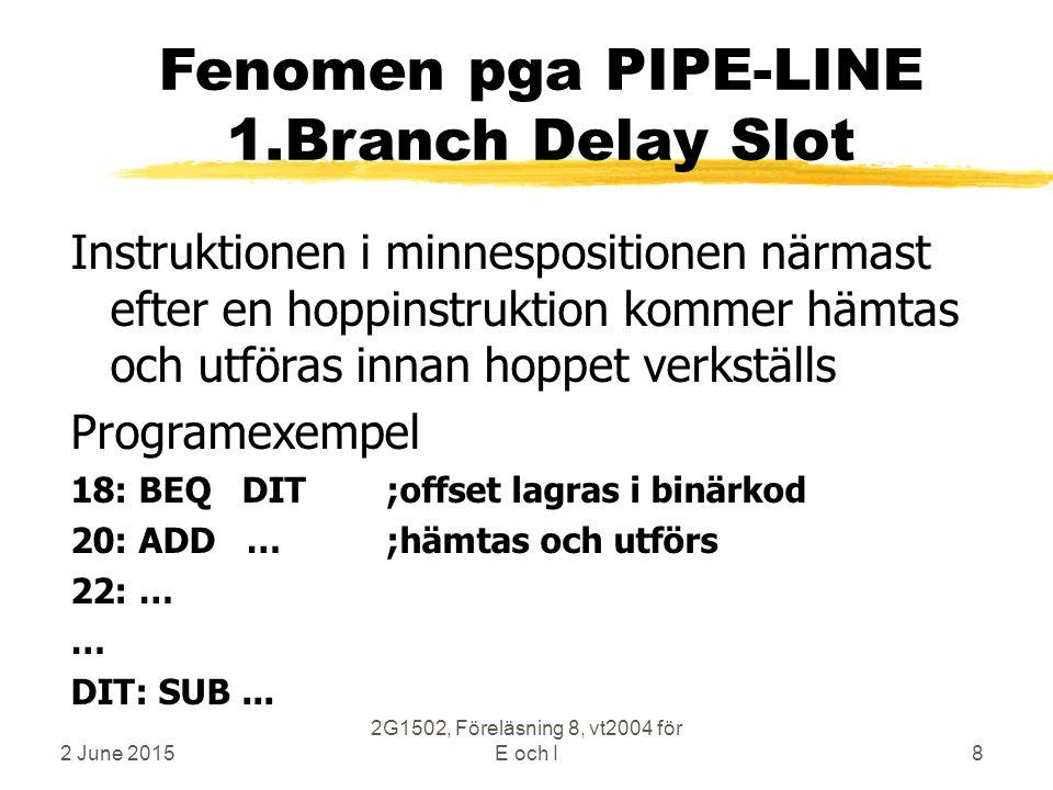 2 June 2015 2G1502, Föreläsning 8, vt2004 för E och I8 Fenomen pga PIPE-LINE 1.Branch Delay Slot Instruktionen i minnespositionen närmast efter en hoppinstruktion kommer hämtas och utföras innan hoppet verkställs Programexempel 18: BEQ DIT;offset lagras i binärkod 20: ADD …;hämtas och utförs 22: … … DIT: SUB...
