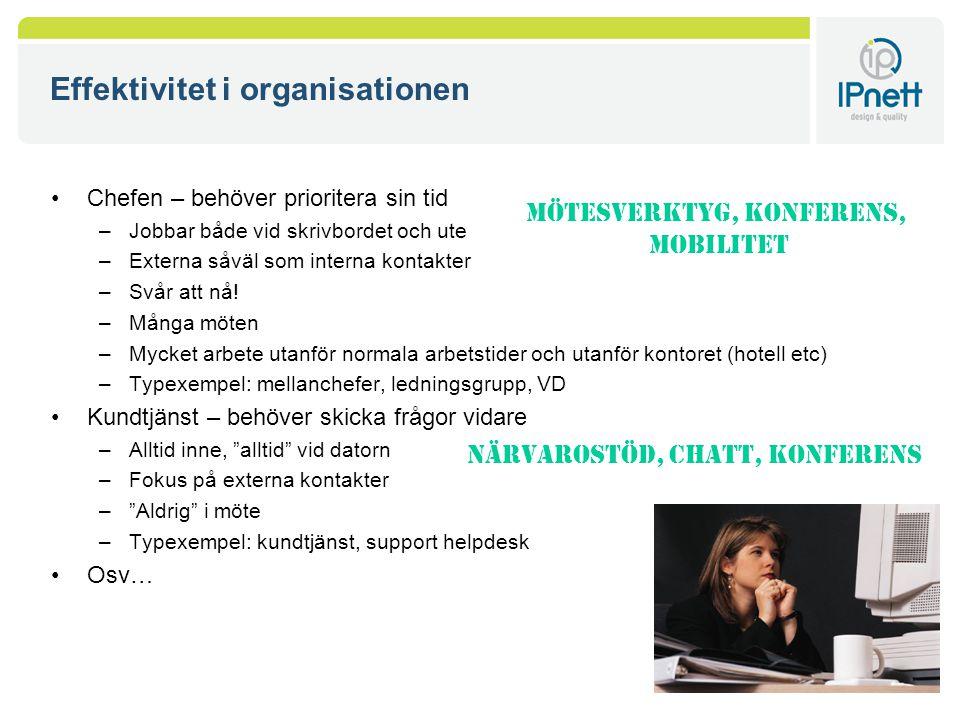 Effektivitet i organisationen Chefen – behöver prioritera sin tid –Jobbar både vid skrivbordet och ute –Externa såväl som interna kontakter –Svår att nå.