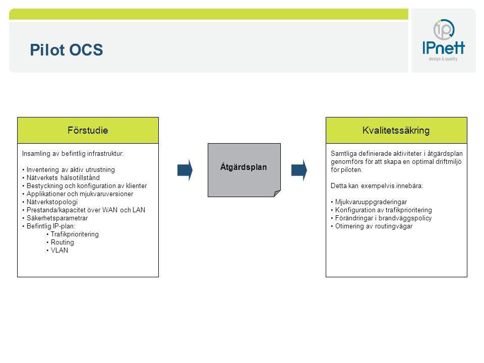 Pilot OCS Åtgärdsplan Insamling av befintlig infrastruktur: Inventering av aktiv utrustning Nätverkets hälsotillstånd Bestyckning och konfiguration av klienter Applikationer och mjukvaruversioner Nätverkstopologi Prestanda/kapacitet över WAN och LAN Säkerhetsparametrar Befintlig IP-plan: Trafikprioritering Routing VLAN Förstudie Samtliga definierade aktiviteter i åtgärdsplan genomförs för att skapa en optimal driftmiljö för piloten.