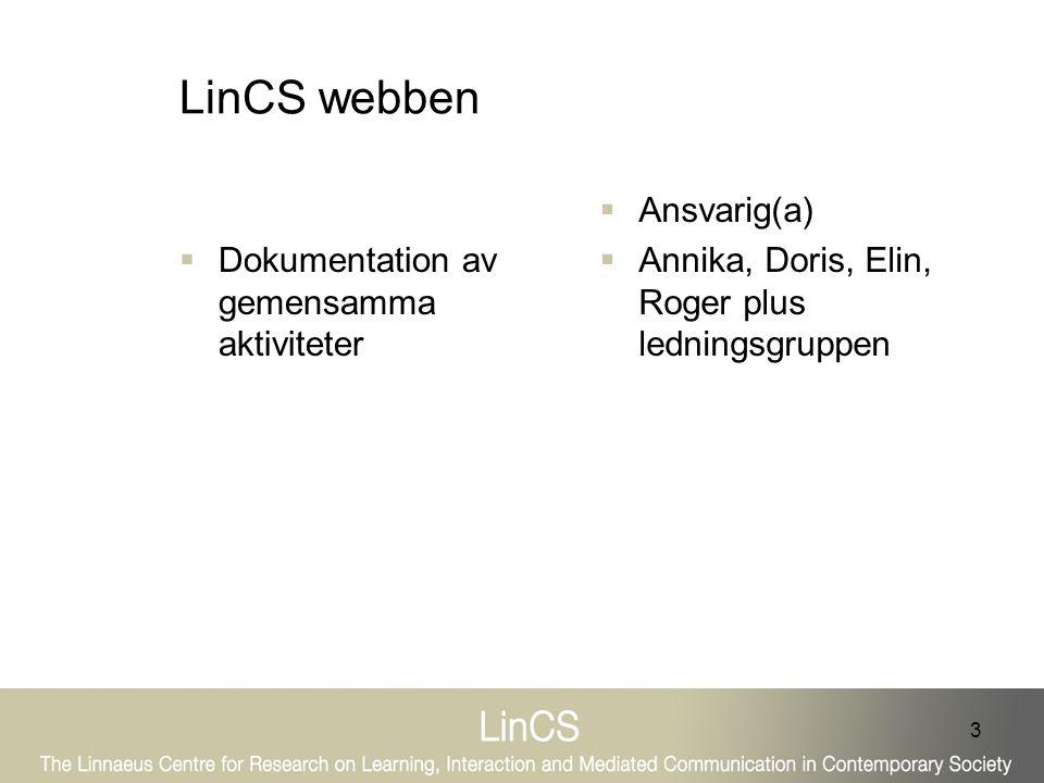 3 LinCS webben  Dokumentation av gemensamma aktiviteter  Ansvarig(a)  Annika, Doris, Elin, Roger plus ledningsgruppen