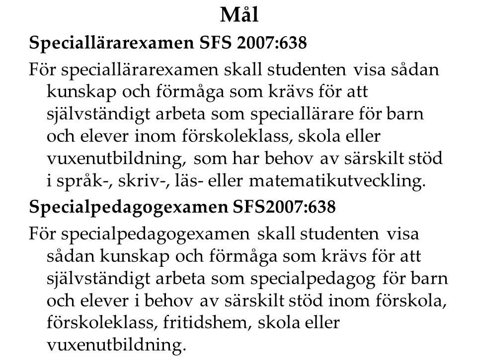 Mål Speciallärarexamen SFS 2007:638 För speciallärarexamen skall studenten visa sådan kunskap och förmåga som krävs för att självständigt arbeta som s