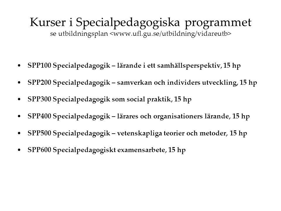 Kurser i Specialpedagogiska programmet se utbildningsplan SPP100 Specialpedagogik – lärande i ett samhällsperspektiv, 15 hp SPP200 Specialpedagogik –