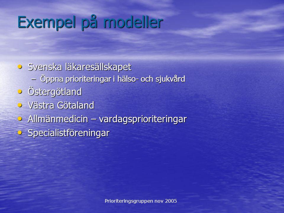 Prioriteringsgruppen nov 2005 Exempel på modeller Svenska läkaresällskapet Svenska läkaresällskapet –Öppna prioriteringar i hälso- och sjukvård Österg