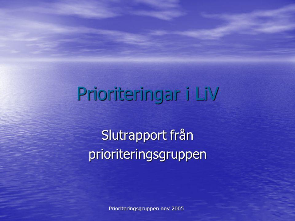 Prioriteringsgruppen nov 2005 Prioriteringar i LiV Slutrapport från prioriteringsgruppen