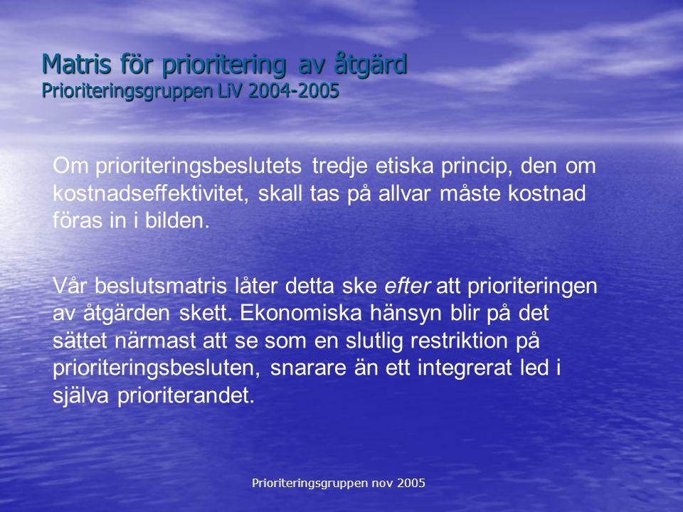 Prioriteringsgruppen nov 2005 Matris för prioritering av åtgärd Prioriteringsgruppen LiV 2004-2005 Om prioriteringsbeslutets tredje etiska princip, de