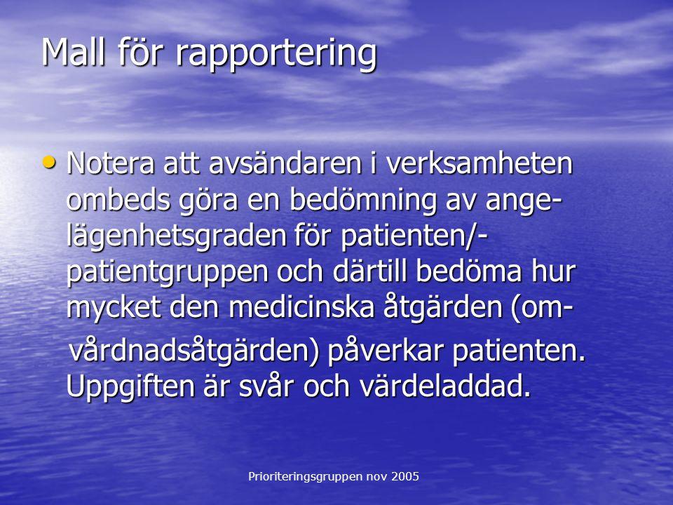 Prioriteringsgruppen nov 2005 Mall för rapportering Notera att avsändaren i verksamheten ombeds göra en bedömning av ange- lägenhetsgraden för patient