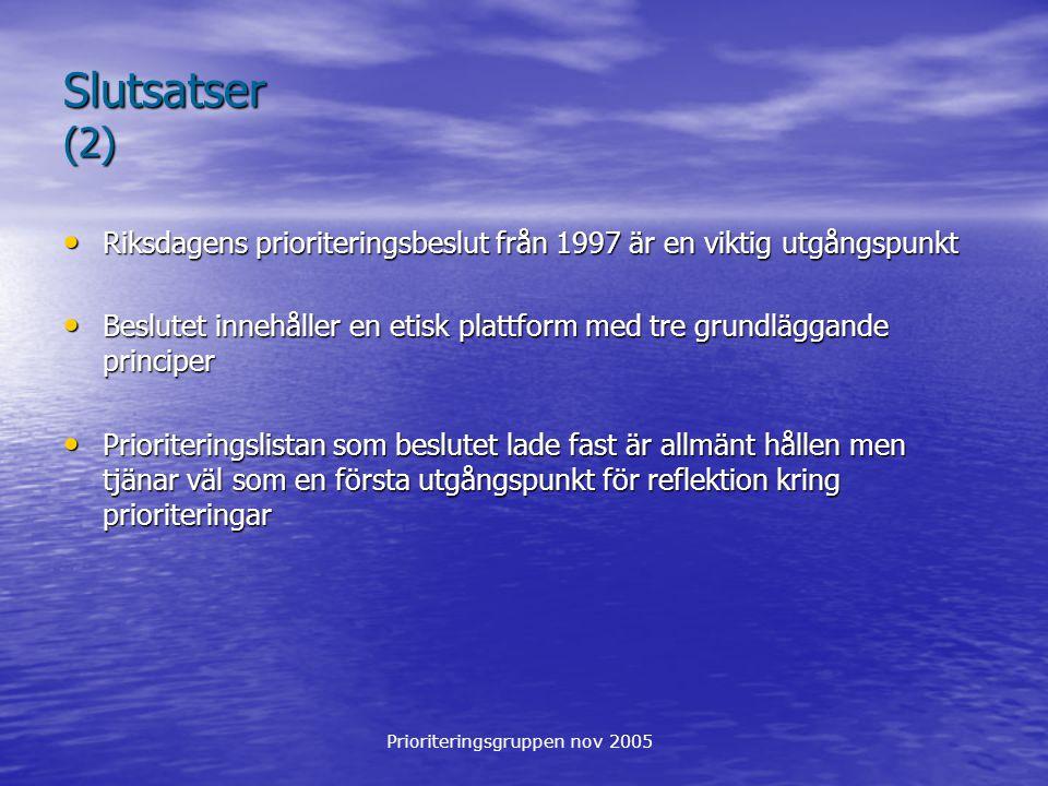 Prioriteringsgruppen nov 2005 Slutsatser (2) Riksdagens prioriteringsbeslut från 1997 är en viktig utgångspunkt Riksdagens prioriteringsbeslut från 19