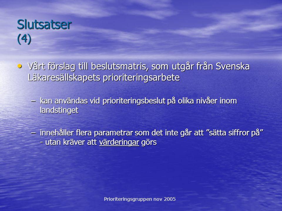 Prioriteringsgruppen nov 2005 Slutsatser (4) Vårt förslag till beslutsmatris, som utgår från Svenska Läkaresällskapets prioriteringsarbete Vårt förslag till beslutsmatris, som utgår från Svenska Läkaresällskapets prioriteringsarbete –kan användas vid prioriteringsbeslut på olika nivåer inom landstinget –innehåller flera parametrar som det inte går att sätta siffror på - utan kräver att värderingar görs