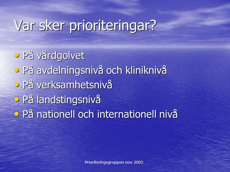 Prioriteringsgruppen nov 2005 Var sker prioriteringar? På vårdgolvet På vårdgolvet På avdelningsnivå och kliniknivå På avdelningsnivå och kliniknivå P