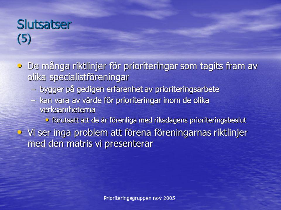 Prioriteringsgruppen nov 2005 Slutsatser (5) De många riktlinjer för prioriteringar som tagits fram av olika specialistföreningar De många riktlinjer