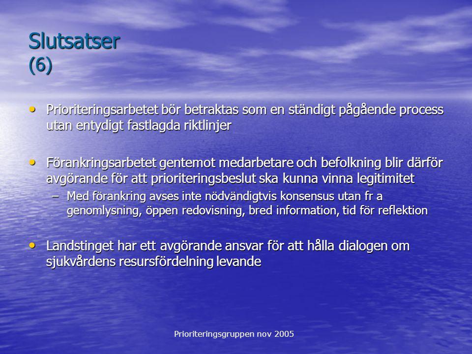 Prioriteringsgruppen nov 2005 Slutsatser (6) Prioriteringsarbetet bör betraktas som en ständigt pågående process utan entydigt fastlagda riktlinjer Pr