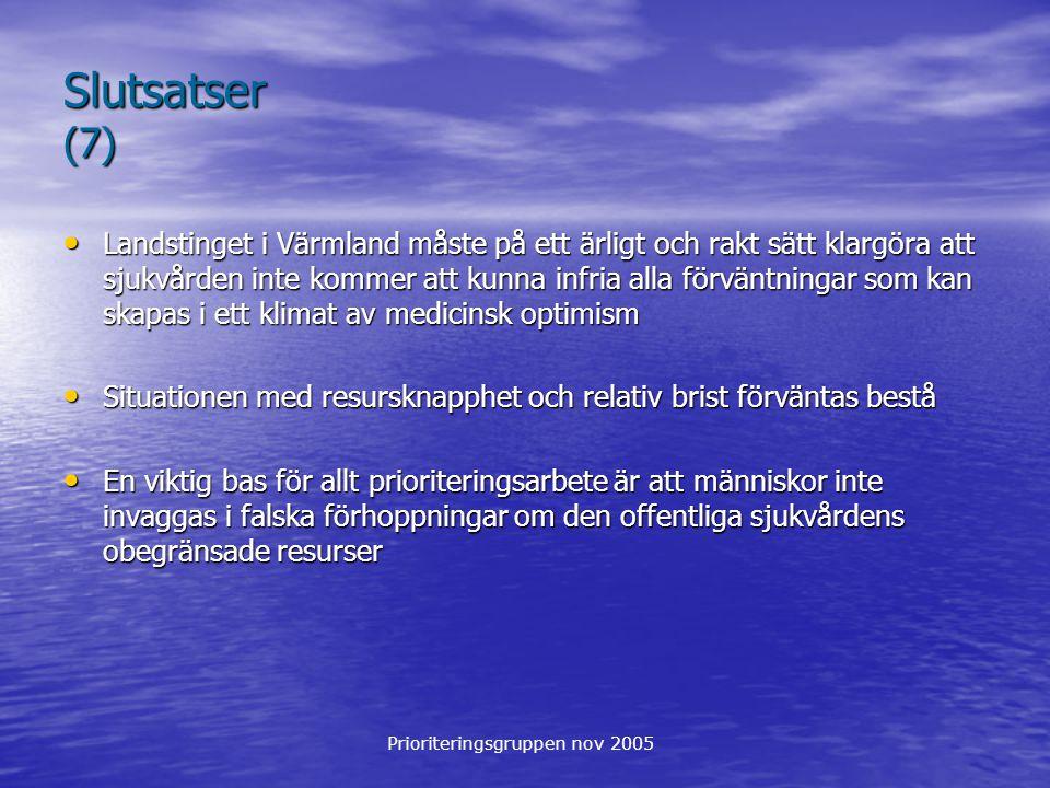 Prioriteringsgruppen nov 2005 Slutsatser (7) Landstinget i Värmland måste på ett ärligt och rakt sätt klargöra att sjukvården inte kommer att kunna infria alla förväntningar som kan skapas i ett klimat av medicinsk optimism Landstinget i Värmland måste på ett ärligt och rakt sätt klargöra att sjukvården inte kommer att kunna infria alla förväntningar som kan skapas i ett klimat av medicinsk optimism Situationen med resursknapphet och relativ brist förväntas bestå Situationen med resursknapphet och relativ brist förväntas bestå En viktig bas för allt prioriteringsarbete är att människor inte invaggas i falska förhoppningar om den offentliga sjukvårdens obegränsade resurser En viktig bas för allt prioriteringsarbete är att människor inte invaggas i falska förhoppningar om den offentliga sjukvårdens obegränsade resurser
