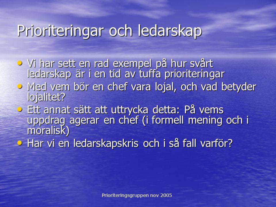 Prioriteringsgruppen nov 2005 Prioriteringar och ledarskap Vi har sett en rad exempel på hur svårt ledarskap är i en tid av tuffa prioriteringar Vi ha