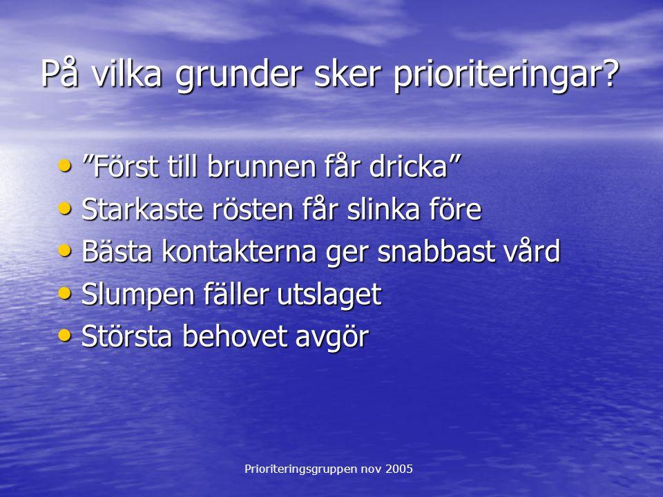 """Prioriteringsgruppen nov 2005 På vilka grunder sker prioriteringar? """"Först till brunnen får dricka"""" """"Först till brunnen får dricka"""" Starkaste rösten f"""