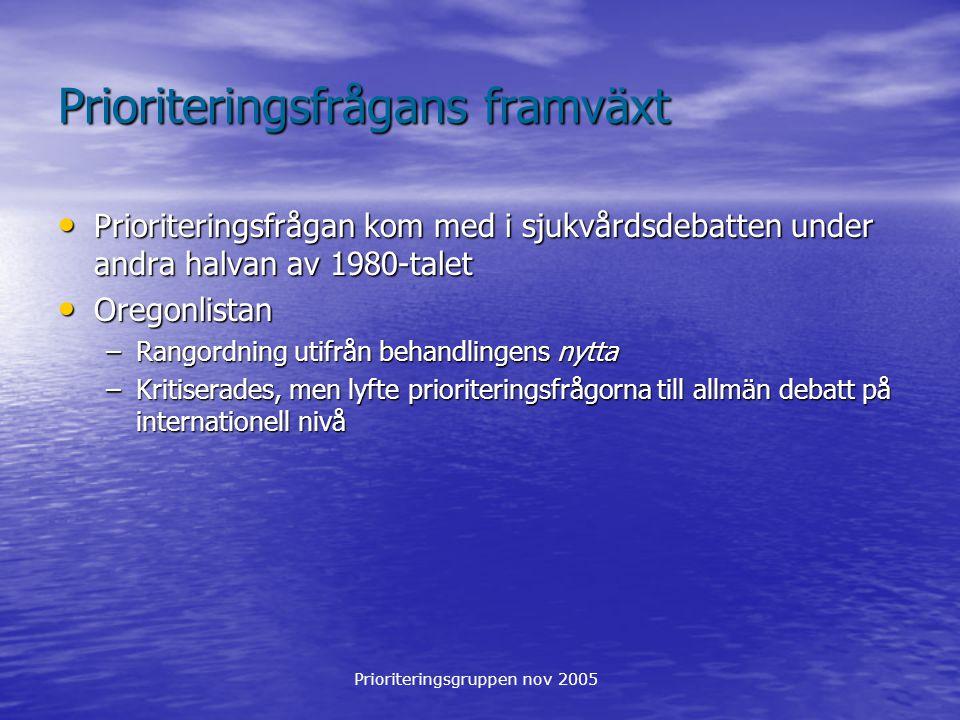 Prioriteringsgruppen nov 2005 Prioriteringsfrågans framväxt Prioriteringsutredningens etiska grundprinciper: 1.
