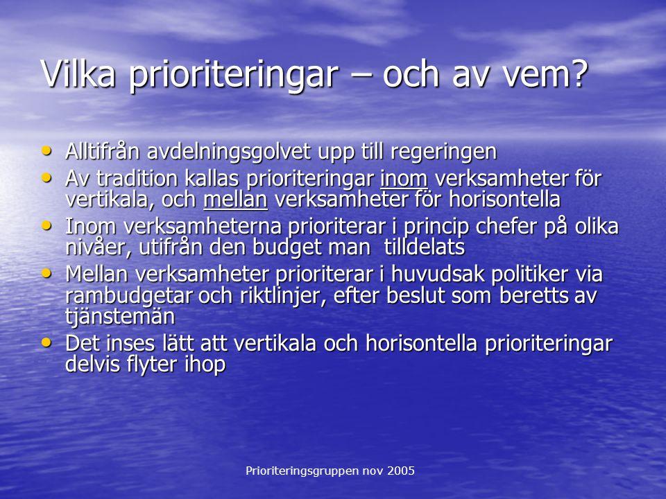 Prioriteringsgruppen nov 2005 Vilka prioriteringar – och av vem? Alltifrån avdelningsgolvet upp till regeringen Alltifrån avdelningsgolvet upp till re