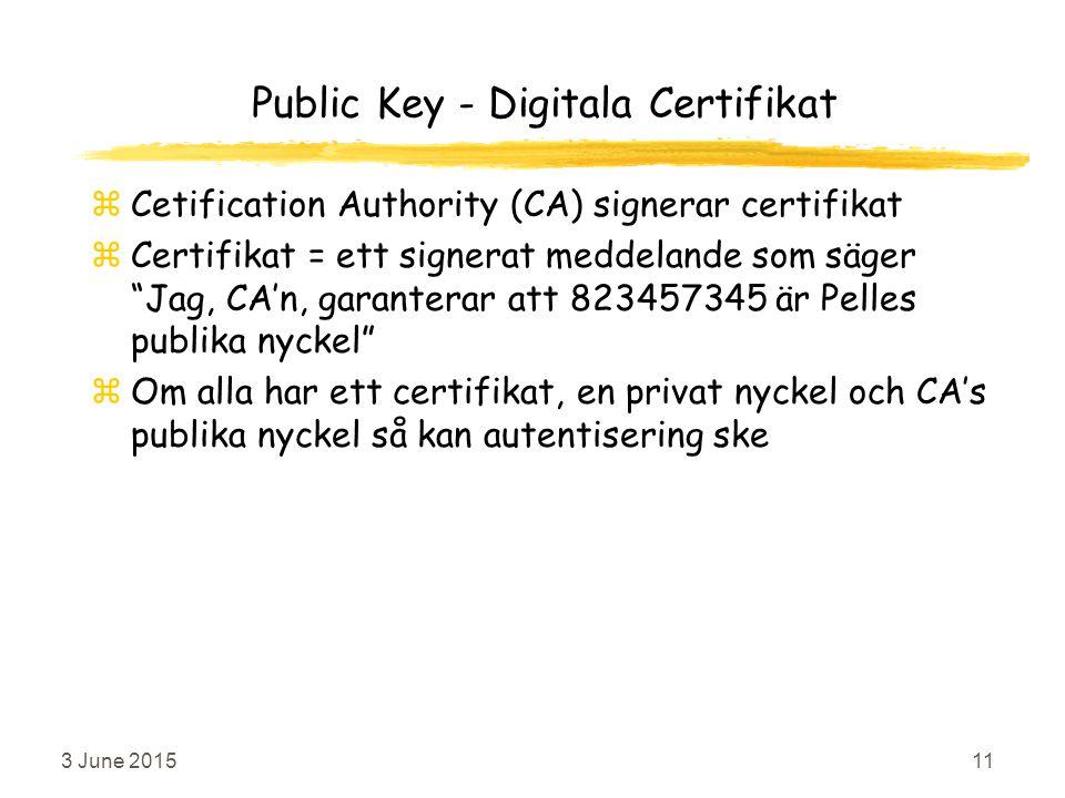 3 June 201511 Public Key - Digitala Certifikat zCetification Authority (CA) signerar certifikat zCertifikat = ett signerat meddelande som säger Jag, CA'n, garanterar att 823457345 är Pelles publika nyckel zOm alla har ett certifikat, en privat nyckel och CA's publika nyckel så kan autentisering ske