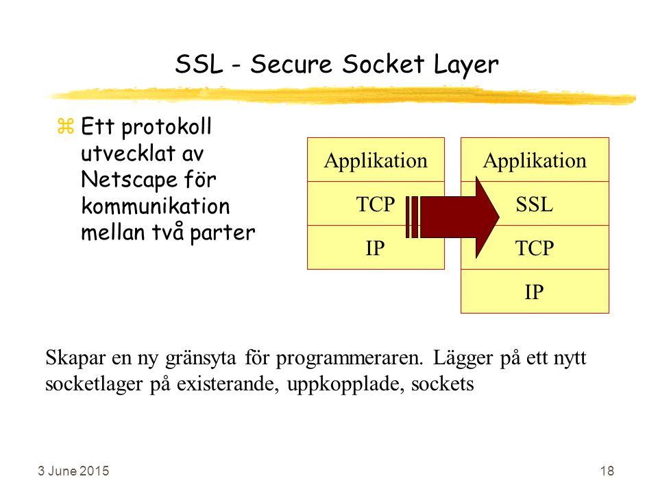 3 June 201518 SSL - Secure Socket Layer zEtt protokoll utvecklat av Netscape för kommunikation mellan två parter Applikation SSL TCP Applikation TCP IP Skapar en ny gränsyta för programmeraren.