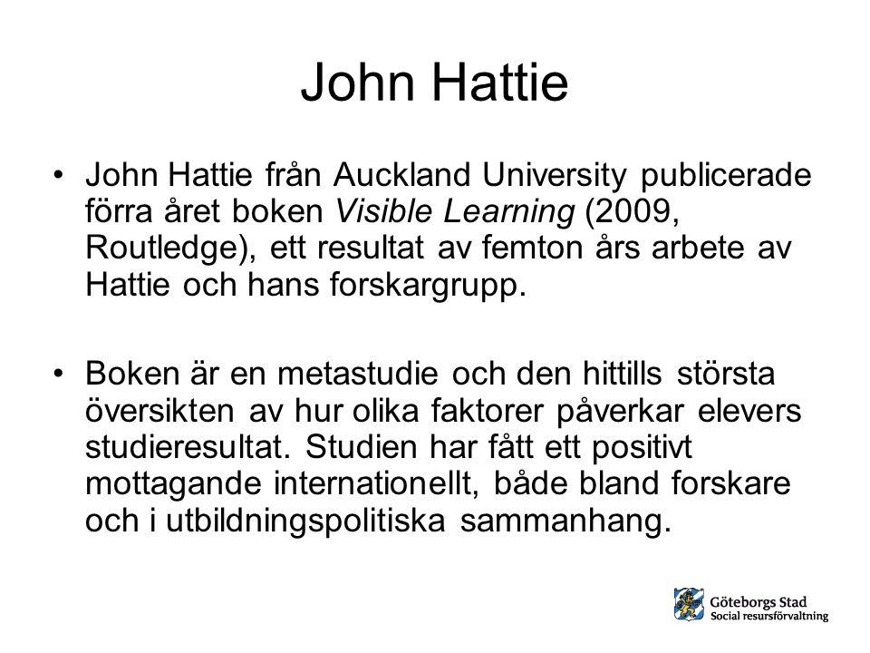 John Hattie John Hattie från Auckland University publicerade förra året boken Visible Learning (2009, Routledge), ett resultat av femton års arbete av