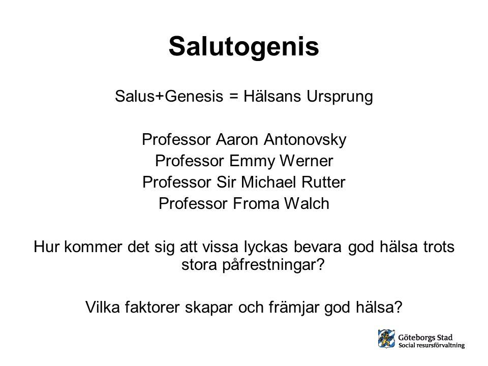 Salutogenis Salus+Genesis = Hälsans Ursprung Professor Aaron Antonovsky Professor Emmy Werner Professor Sir Michael Rutter Professor Froma Walch Hur k