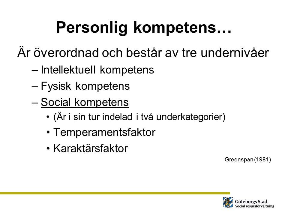 Personlig kompetens… Är överordnad och består av tre undernivåer –Intellektuell kompetens –Fysisk kompetens –Social kompetens (Är i sin tur indelad i
