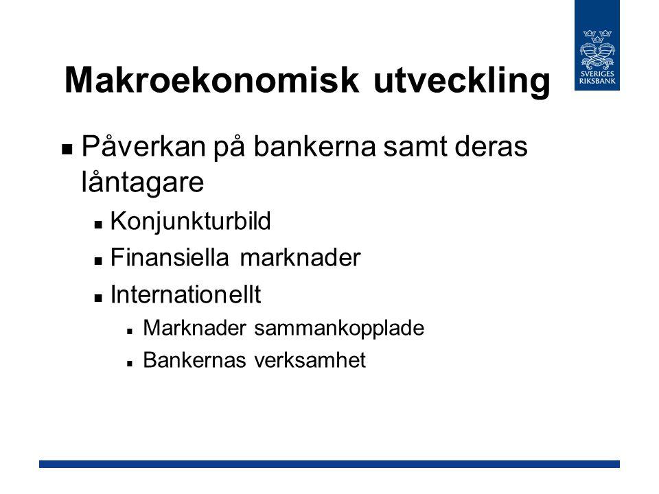 Påverkan på bankerna samt deras låntagare Konjunkturbild Finansiella marknader Internationellt Marknader sammankopplade Bankernas verksamhet