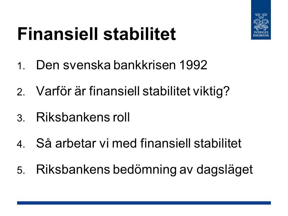 Finansiell stabilitet  Den svenska bankkrisen 1992  Varför är finansiell stabilitet viktig?  Riksbankens roll  Så arbetar vi med finansiell st