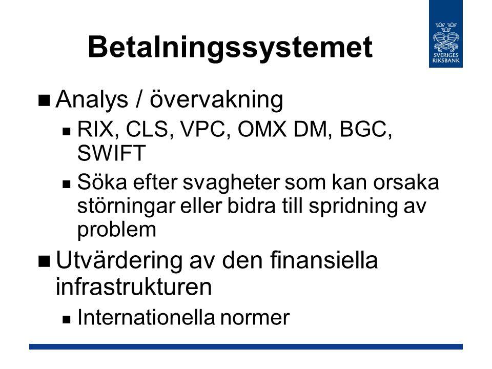 Betalningssystemet Analys / övervakning RIX, CLS, VPC, OMX DM, BGC, SWIFT Söka efter svagheter som kan orsaka störningar eller bidra till spridning av