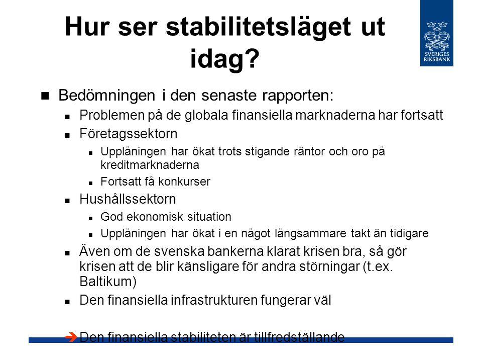 Hur ser stabilitetsläget ut idag? Bedömningen i den senaste rapporten: Problemen på de globala finansiella marknaderna har fortsatt Företagssektorn Up