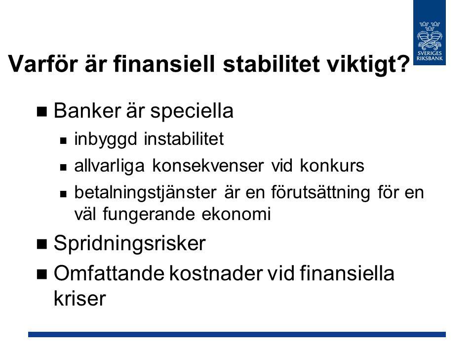 Varför är finansiell stabilitet viktigt? Banker är speciella inbyggd instabilitet allvarliga konsekvenser vid konkurs betalningstjänster är en förutsä