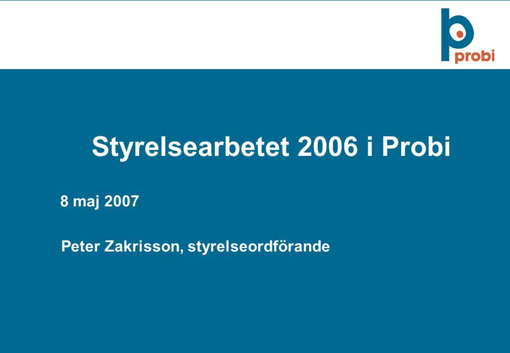1 Styrelsearbetet 2006 i Probi 8 maj 2007 Peter Zakrisson, styrelseordförande