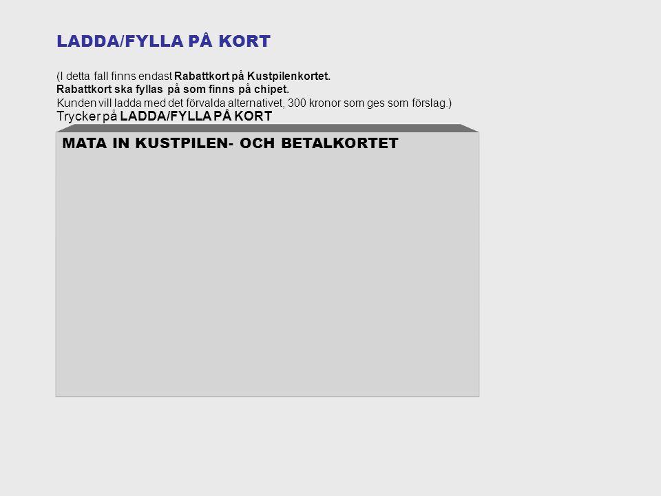 LADDA/FYLLA PÅ KORT (I detta fall finns endast Rabattkort på Kustpilenkortet.