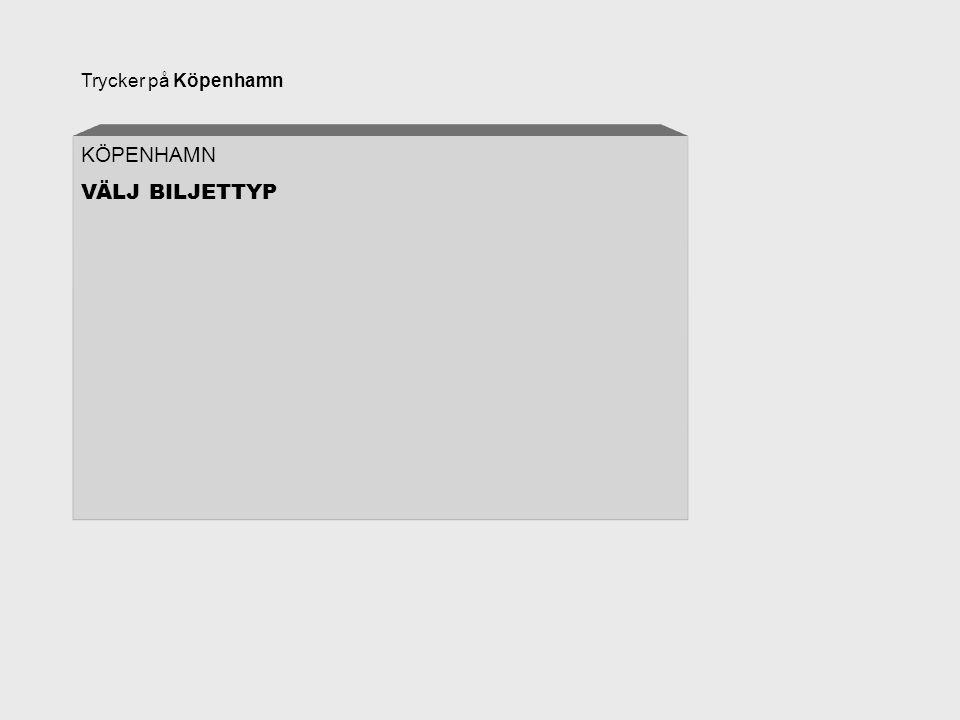 Trycker på Köpenhamn KÖPENHAMN VÄLJ BILJETTYP