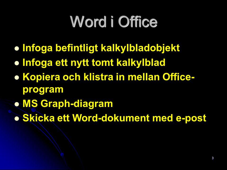 3 Word i Office Infoga befintligt kalkylbladobjekt Infoga ett nytt tomt kalkylblad Kopiera och klistra in mellan Office- program MS Graph-diagram Skic