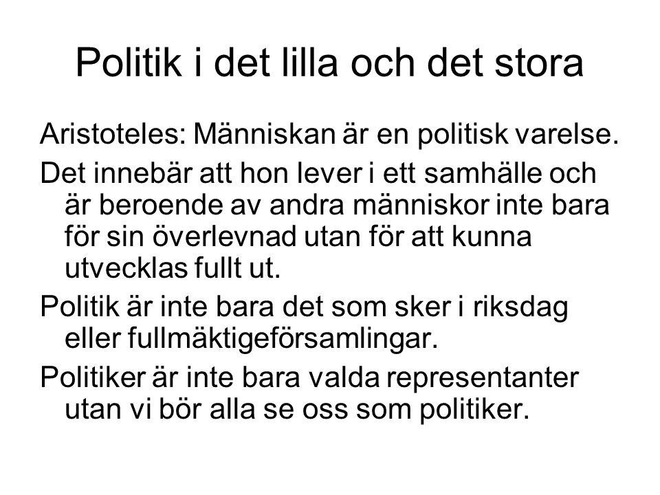 Politik i det lilla och det stora Aristoteles: Människan är en politisk varelse.