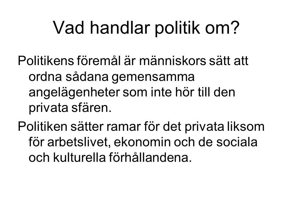Vad handlar politik om? Politikens föremål är människors sätt att ordna sådana gemensamma angelägenheter som inte hör till den privata sfären. Politik