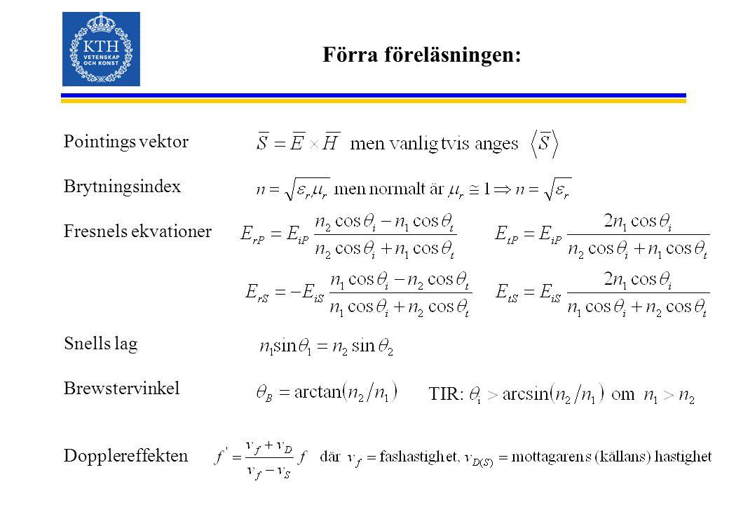 Förra föreläsningen: Pointings vektor Brytningsindex Fresnels ekvationer Snells lag Brewstervinkel Dopplereffekten TIR: