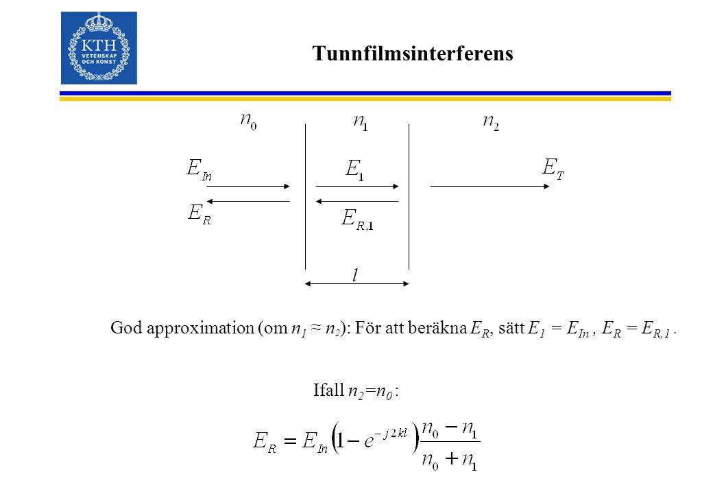 Tunnfilmsinterferens God approximation (om n 1 ≈ n 2 ): För att beräkna E R, sätt E 1 = E In, E R = E R,1. Ifall n 2 =n 0 : l