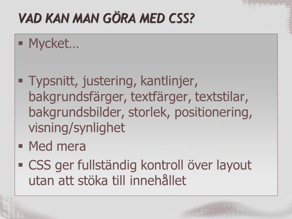 VAD KAN MAN GÖRA MED CSS.