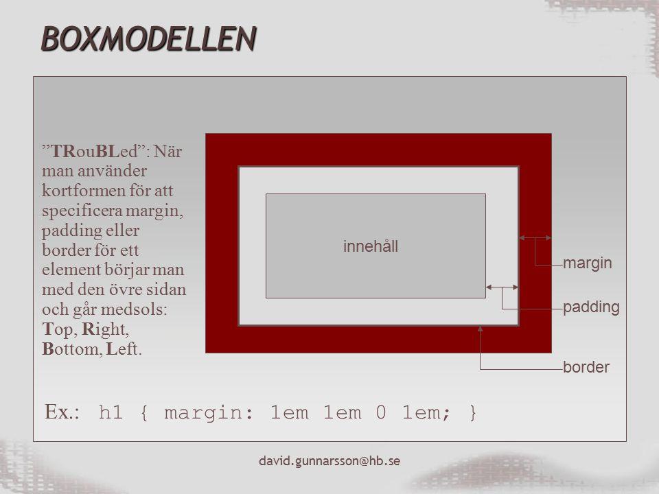 david.gunnarsson@hb.se BOXMODELLEN innehåll margin padding border TRouBLed : När man använder kortformen för att specificera margin, padding eller border för ett element börjar man med den övre sidan och går medsols: Top, Right, Bottom, Left.