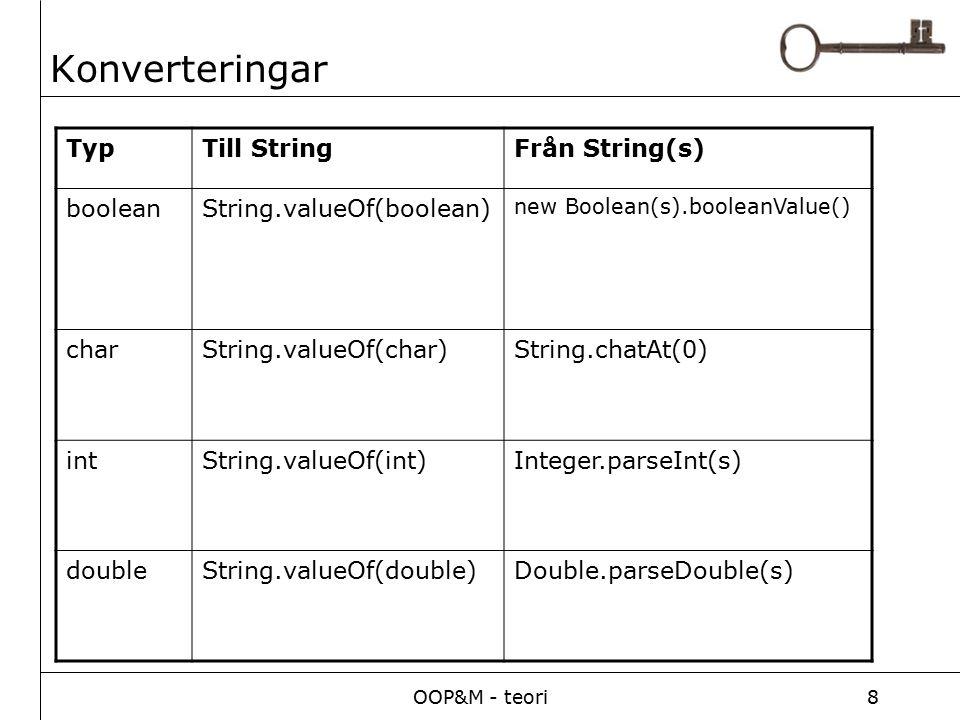 OOP&M - teori8 Konverteringar TypTill StringFrån String(s) booleanString.valueOf(boolean) new Boolean(s).booleanValue() charString.valueOf(char)String