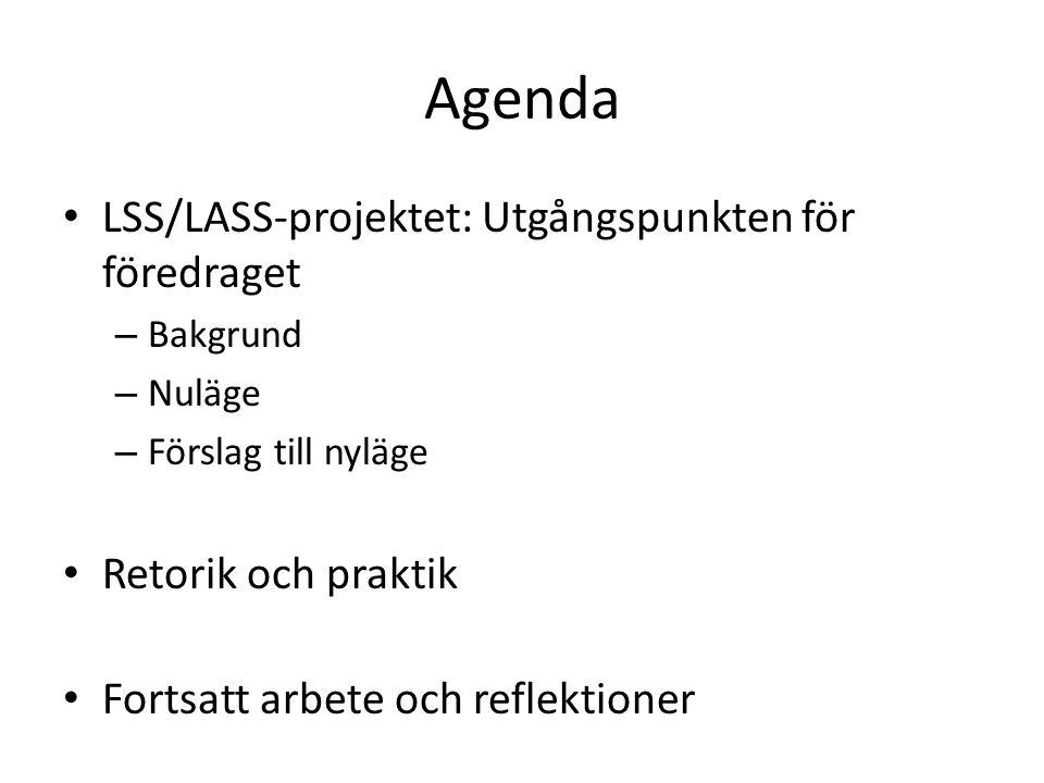 Agenda LSS/LASS-projektet: Utgångspunkten för föredraget – Bakgrund – Nuläge – Förslag till nyläge Retorik och praktik Fortsatt arbete och reflektione