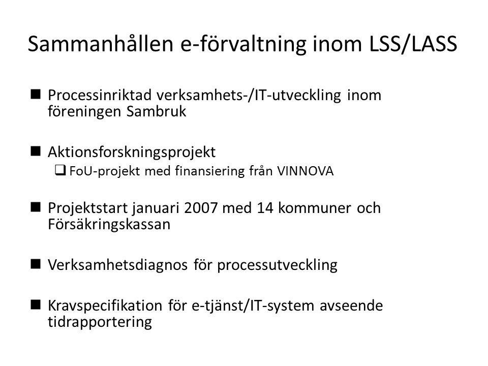 Sammanhållen e-förvaltning inom LSS/LASS Processinriktad verksamhets-/IT-utveckling inom föreningen Sambruk Aktionsforskningsprojekt  FoU-projekt med